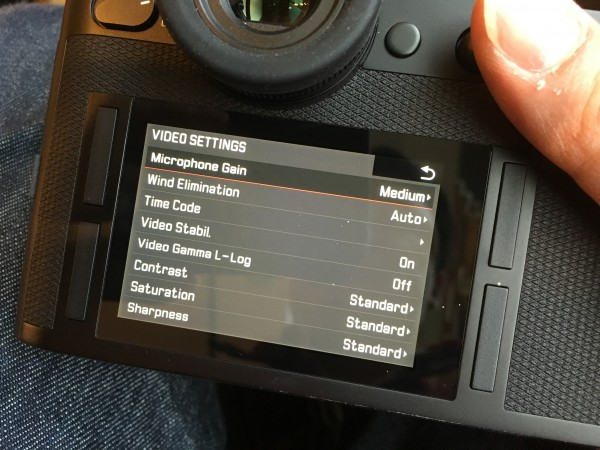 The video settings menu