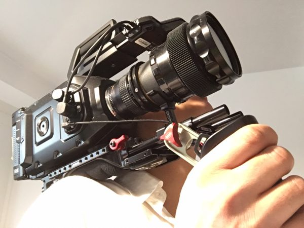 The URSA Mini we've been testing at Newsshooter. The 4.6K version shares the same body. Pictured with Rectilux Anamorphic adapter and Zacuto VCT baseplate