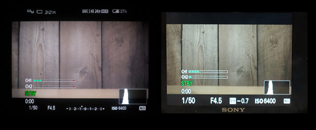 Left: the viewfinder shows a full-time exposure meter at the bottom, whereas at right the LCD only shows a plus or minus value for the metered exposure.