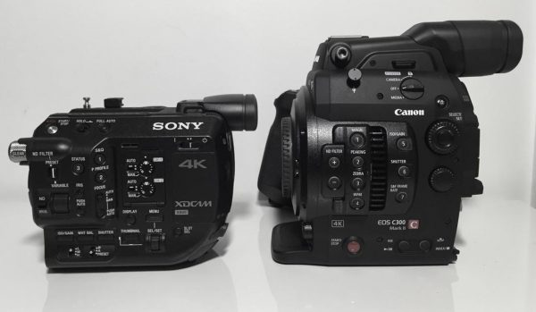 The FS5 alongside the Canon C300 Mk II