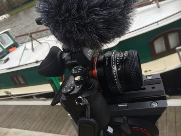The Sony a7S with Yashica 50mm lens and Rode mic