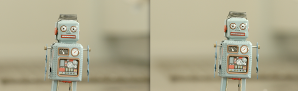 On the left is the regular 1920x1080 image blown up 200%. On the right the image when the camera is recording in the  Slow & Fast Motion (Crop) mode.