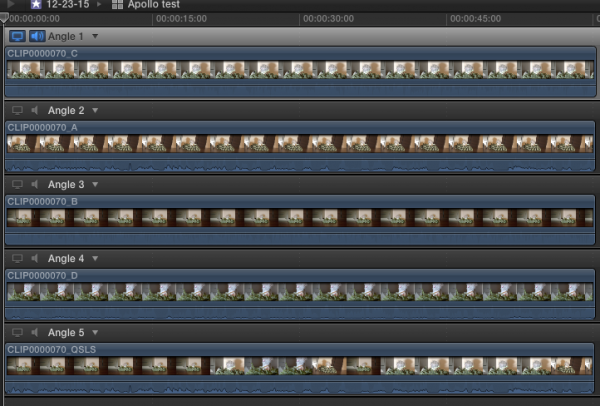The recorded clips marked A/B/C/D and QSLS inside FCPX