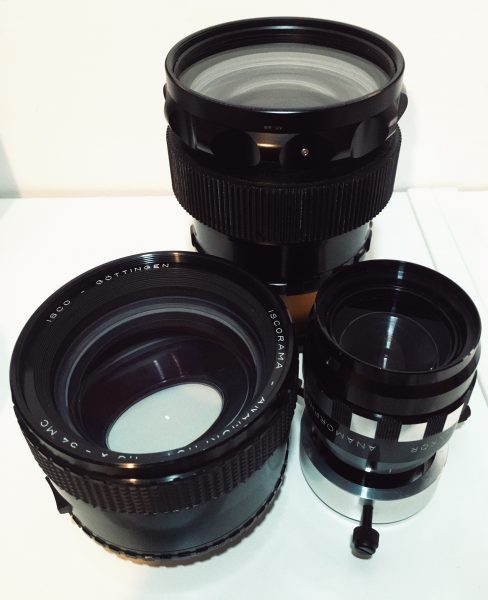 The Rectilux 3FF-W and Schneider anamorphic (top) next to vintage ISCO 54 and Sankor optics