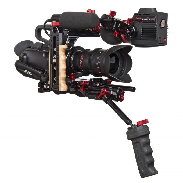 The JVC GY LS300 with Zacuto rig and EVF