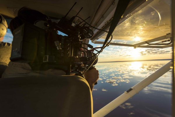 Filming Lake Eyre in flood from a Cessna