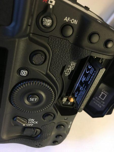 The camera has both CF and CFast 2.0 card slots.