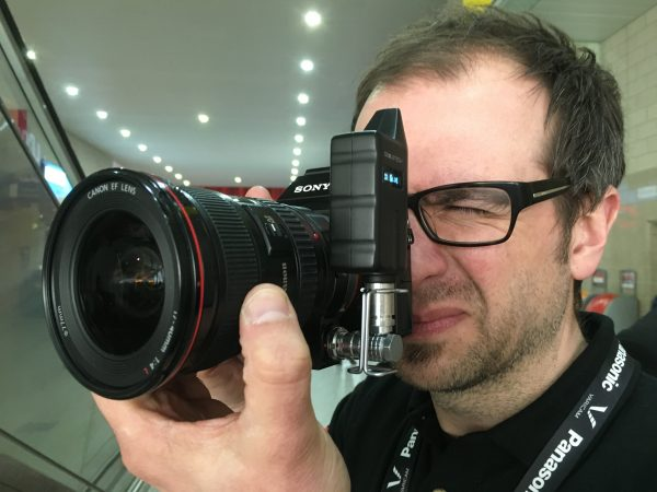 Although the END unit  adds bulk to a small camera like the A7s here, it's still a discreet package, even with Newsshooter contributor Simon Glass attached.