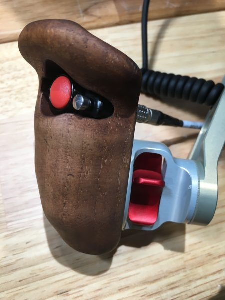 The new Vocas wooden handgrip with secondary button.