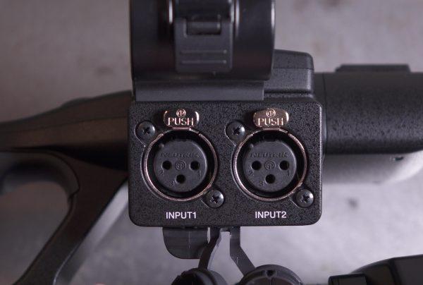 The XLR audio inputs.
