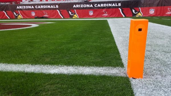 The pylon cam: well padded to protect players and technology alike.