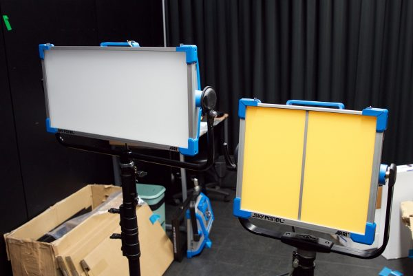 The Arri Skypanel SC60 full colour tuneable LED  on the left and the SC30 RP on the right