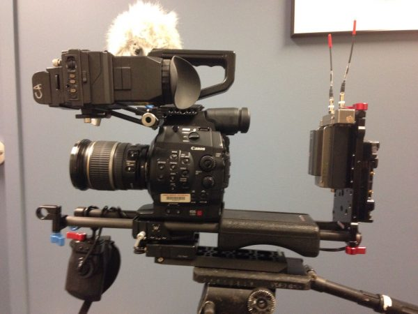 The C300 with Lectrosonics SRb duel radio mic receiver
