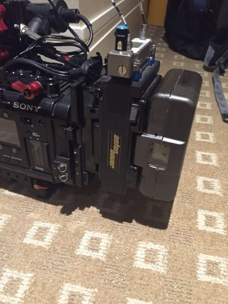 Lectrosonics SRb in a Anton Bauer camera slot on the Sony F55
