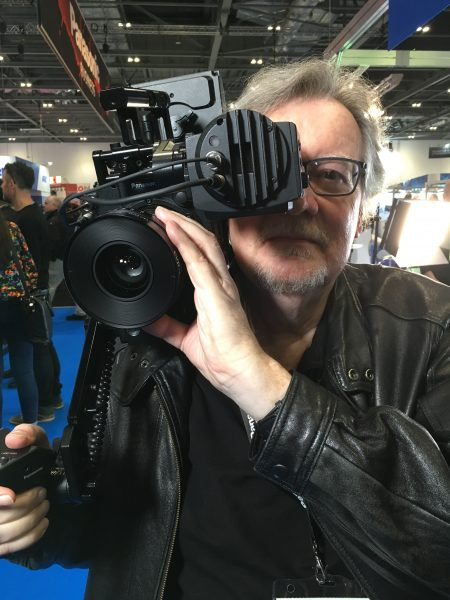 Geoff throws the Panasonic Varicam LT on his shoulder.