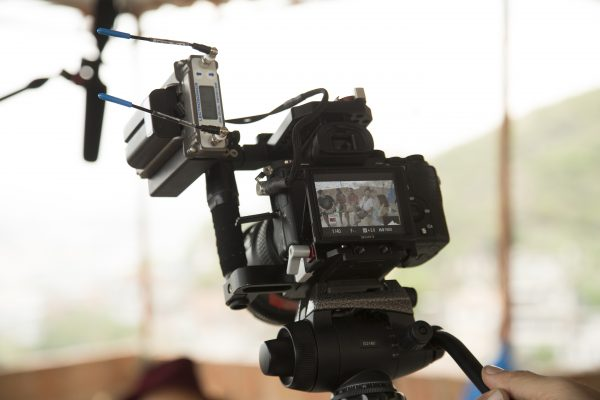 The Lectrosonics SRb Dual Channel Receiver on the Sony a7R II.