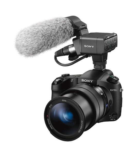The RX10 II with Sony's XLR-K2M XLR audio adapter on top.