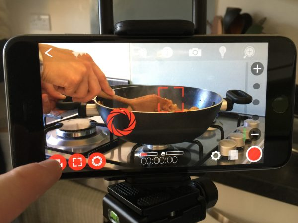 Filmic Pro in action on iOS in the kitchen.