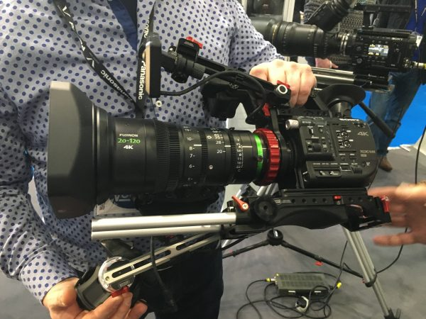 The 20-120 attached to a Sony FS5 with Vocas PL mount adapter and rig.