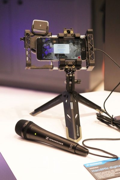 The microphone connects directly to the iPhone's lightning port but has enough cable attached to make it possible to use if you're filming your own standups.