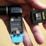 The receiver's battery is small and different from the transmitters.