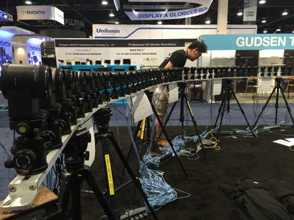 48 Z-Cam C1s set up in a bullet time rig on the NAB show floor.