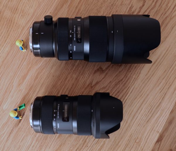 The 50-100 f1.8 is considerably bigger and heavier than 18-35mm f1.8