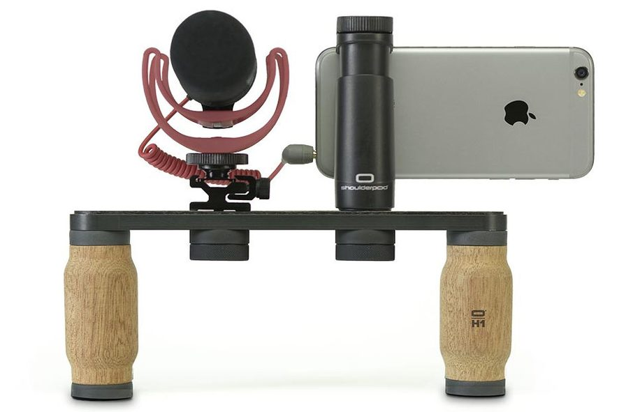 Mojocon 2016: Shoulderpod iPhone rigs with inexpensive wooden grips that can also work with your regular gear