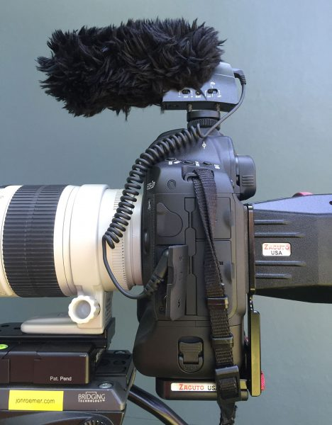 The 1DX Mark II with Zacuto Z-finder and Sennheiser MKE400 mic