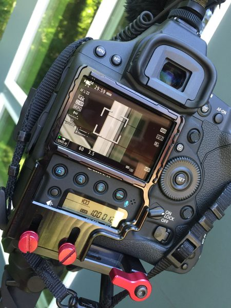 Canon 1DX Mark II rear touch screen when in video mode. Frame is for holding a Zacuto Z-finder.