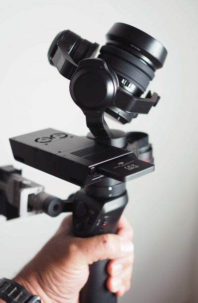 The Zenmuse X5R camera on an Osmo handgrip.