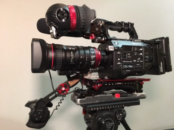 The Canon 18-80 looks at home on a Sony FS7
