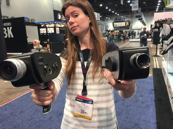 Elle showing off a pair of D16s at NAB 2016.