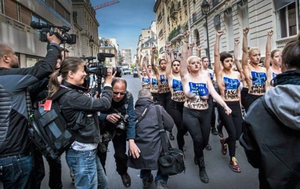 The 5D Mk II in action - an oldie but a goodie. Here used to film a Femen protest in Paris in 2014.