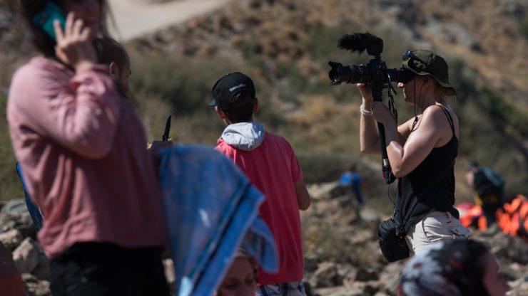 Sharron Ward filming refugee crisis Lesvos 2015 C Nikolas Georgiou