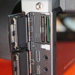 Ports and dual card slots.