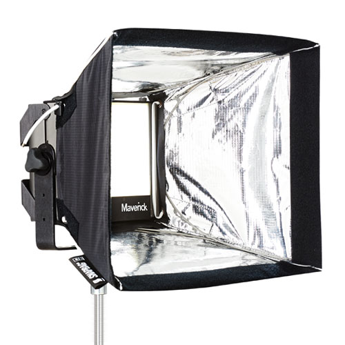 Reflective panels on the Snap Bag intensify the light, and a diffuser is stuck to the front to soften the output.