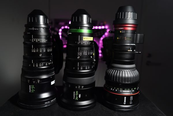 The Fujinon ZK4.7x19 19-90mm T2.9 Cabrio on the left, Fujinon XK6x20 20-120mm T3.5 Cabrio in the middle, and the Canon CN7x17 KAS S Cine-Servo 17-120mm T2.95 on the right.