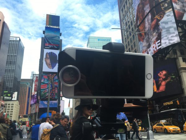 On location in Times Square, New York. Photograph: Eleanor Mannion
