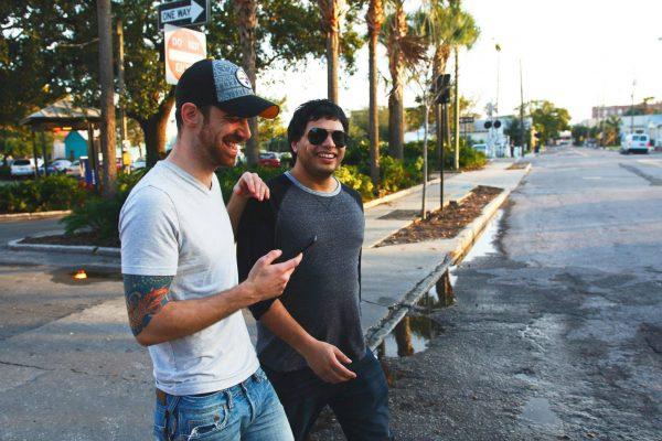 Alex and his documentary subject Misha. Rock = tatoos, Roll = aviator shades.