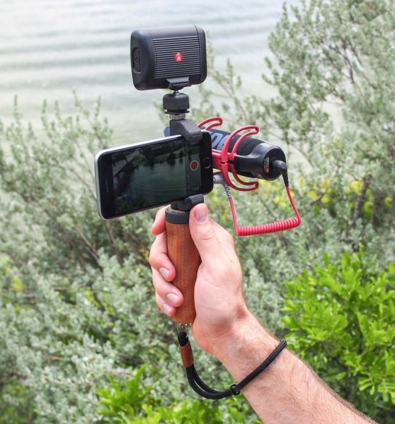 The New Glif will allow you to attach a handle, wrist strap, microphone and light to your smartphone, simultaneously.