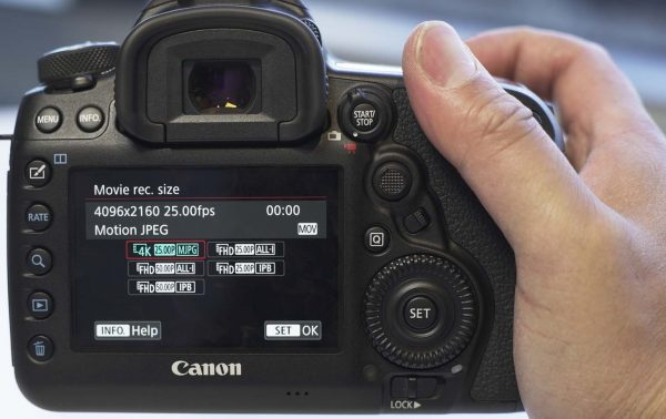 The video recording options of the camera
