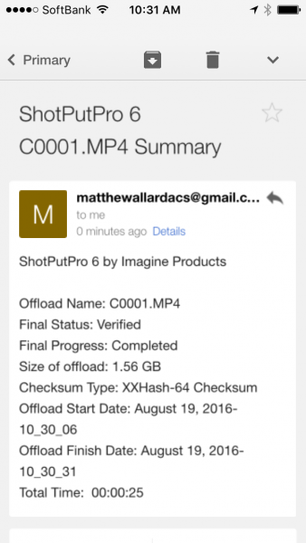 The email you get sent after the completion of copy and verification.