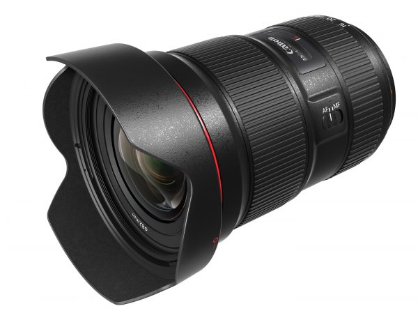 The Canon 16-35mm f2.8L III with lens hood attached