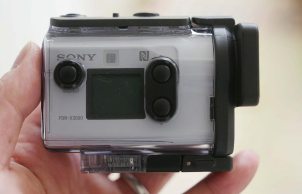 The camera in its underwater case