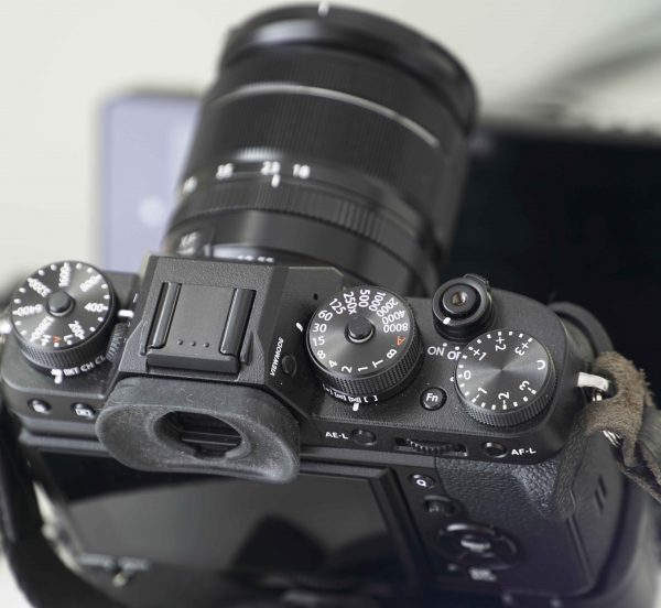 The X-T2 uses mainly dials instead of push buttons on its top plate.