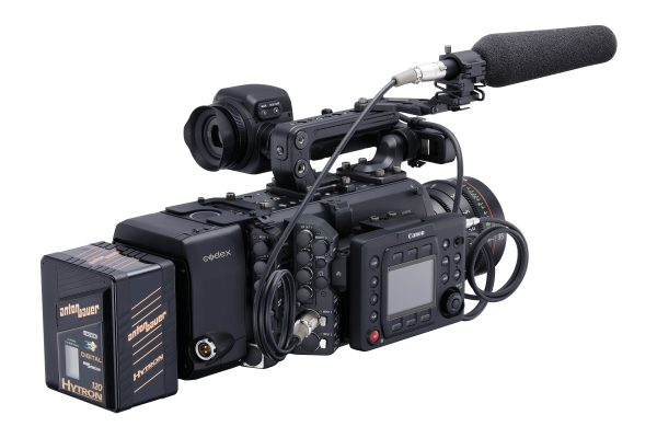 The camera with Codex recorder attached.