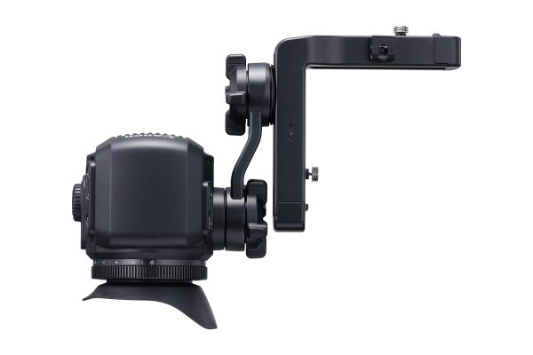 The EVF mounting bracket has a useful range of movement.