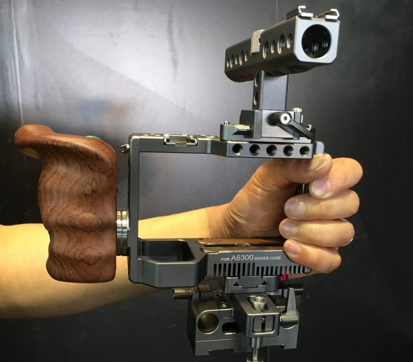 The Tilta wooden handgrip with start/stop trigger
