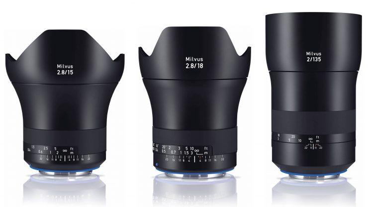 Zeiss Milvus Lenses 15mm 18mm 135mm